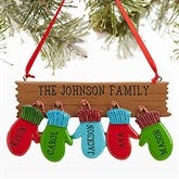 Warm Mitten Family© Personalized Ornament - 5 Name - 16248-5
