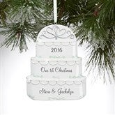 Wedding Day Cake© Personalized Couple Ornament