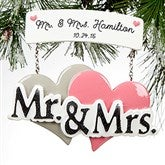 Mr. & Mrs. Wedding Plaque© Personalized Ornament