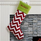 Chevron Holiday Tidings Personalized Felt Stocking - 16276-C