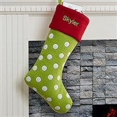 Polka Dot Holiday Tidings Personalized Felt Stocking - 16276-G