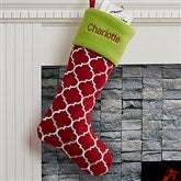 Geometric Holiday Tidings Personalized Felt Stocking - 16276-R