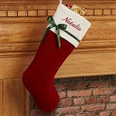 Winter Classic Personalized Quilted Stocking w/Bow-Burgundy - 16279-B