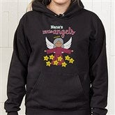 Her Lil' Angels Personalized Black Hooded Sweatshirt - 16293-BHS