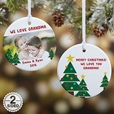 2-Sided Holiday Hugs & Kisses Personalized Photo Ornament - 16298-2