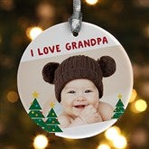 1-Sided Holiday Hugs & Kisses Personalized Photo Ornament - 16298-1