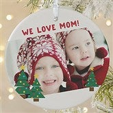 1-Sided Holiday Hugs & Kisses Personalized Photo Ornament-Large - 16298-1L