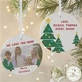 2-Sided Holiday Hugs & Kisses Personalized Photo Ornament-Large - 16298-2L