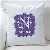 Blooming Monogram Personalized Throw Pillow - 16305