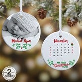 2-Sided Baby's 1st Christmas Calendar Personalized Photo Ornament - 16322-2