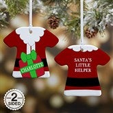 2 Sided Santa's Little Helper Personalized T-Shirt Ornament - 16334-2