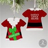 2 Sided Santa's Little Helper Personalized T-Shirt Ornament - 16334-2