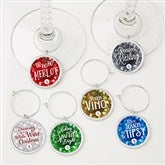 Happy Holidays Personalized Wine Charm 6 pc set