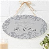 Family Blessings Personalized Oval Wood Sign - 16345