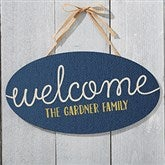 Home Greetings Personalized Oval Wood Sign - 16346