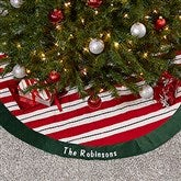 Candy Cane Sparkle Personalized Tree Skirt - 16350