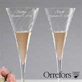 Orrefors Personalized Crystal Champagne Flute Set