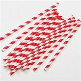 Red & White Striped Paper Straws - Pack of 25 - 16369