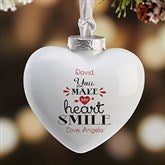 You Make My Heart Smile Personalized Heart Ornament - 16392