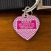 Chevron Personalized Pet ID Tag - Heart - 16409-H