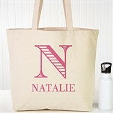 Striped Monogram Personalized Tote - 16453