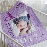 All About Baby Girl Personalized Fleece Blanket-Photo - 16469-P