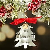 Family Christmas Tree Hand Stamped Ornament- 2 Initials - 16482D-2