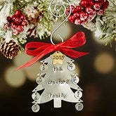 Family Christmas Tree Hand Stamped Ornament- 8 Initials - 16482D-8