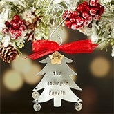 Family Christmas Tree Hand Stamped Ornament- 3 Initials - 16482D-3