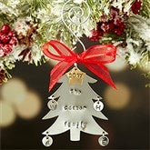 Family Christmas Tree Hand Stamped Ornament- 4 Initials - 16482D-4