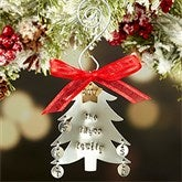 Family Christmas Tree Hand Stamped Ornament- 5 Initials - 16482D-5