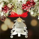 Family Christmas Tree Hand Stamped Ornament- 6 Initials - 16482D-6