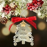 Family Christmas Tree Hand Stamped Ornament- 7 Initials - 16482D-7