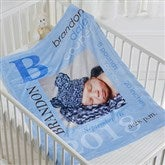 All About Baby Boy Personalized Fleece Blanket-Photo - 16485-P