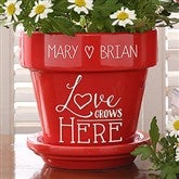 Love Grows Here Couples Personalized Flower Pot- Red - 16513-R