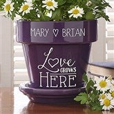 Love Grows Here Couples Personalized Flower Pot- Purple - 16513-P
