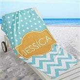 Preppy Chic Personalized Beach Towel - 16526