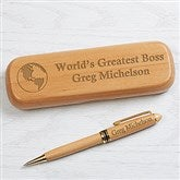 World's Greatest Personalized Alderwood Pen Set - 16620