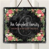 Posh Floral Welcome Personalized Slate Plaque - 16635