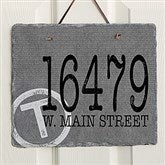 Initial Stamped Address Personalized Slate Plaque - 16637