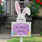 Easter Bunny Outdoor Personalized Family Name Wood Stake