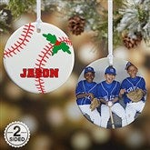 2 Sided Baseball Personalized Photo Ornament-Small - 16665-2