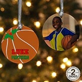 2 Sided Basketball Personalized Photo Ornament - 16666-2
