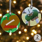 2 Sided Football Personalized Photo Ornament - 16667-2