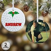 2 Sided Golf Personalized Photo Ornament- Small - 16668-2
