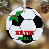 1 Sided Soccer Personalized Ornament-Small - 16670-P