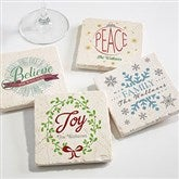 Spirit Of The Season Personalized Tumbled Stone Coaster Set - 16684