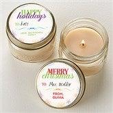 Holiday Wishes Personalized Mini Mason Jar Candle Favors - 16686