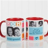 MOM Photo Collage Personalized Coffee Mug 11oz.- Red - 16708-R