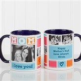 MOM Photo Collage Personalized Coffee Mug 11oz.- Blue - 16708-BL
